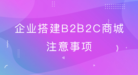 企业搭建B2B2C商城注意事项